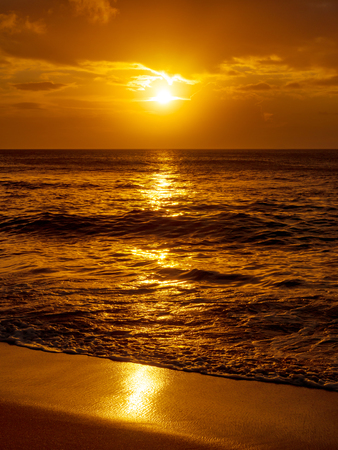 Golden sunset at Sunset Beach in Oahu Hawaii