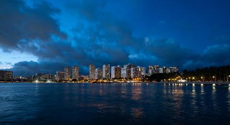 Panorama of Waikiki Beach in Hawaii in evening