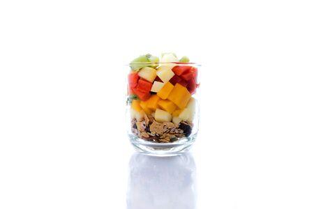 serial: fresh organic fruit salad kiwi, apple, papaya, mango, serial Stock Photo