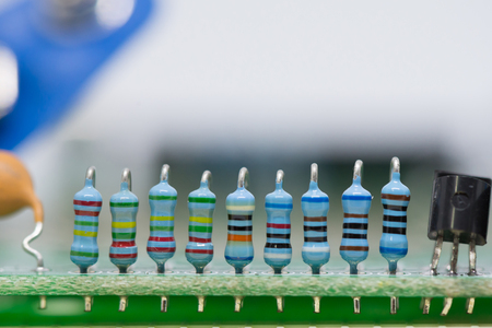 resistors: The resistors and capacitors on the motherboard.