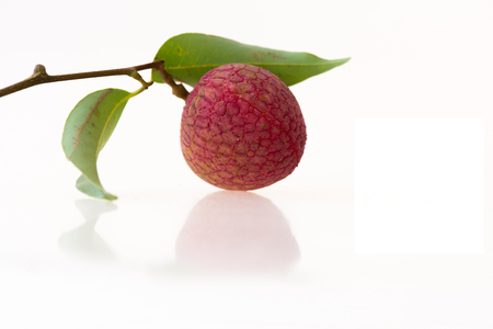Litchi chinensis,Fresh lychees isolated on white background.