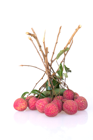 litchi: Bunch of litchi isolated on white background. Stock Photo