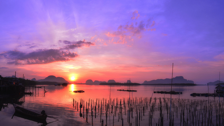 phangnga: Morning  sunrise in fisherman village,phang nga, Thailand.