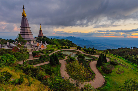unseen: Landmark unseen in Chiangmai, Pagoda in Inthanon national park Thailand.