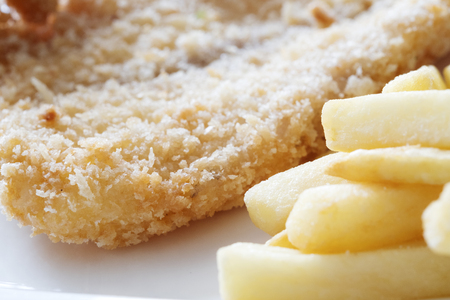 renounce: Fast food concept with fried chicken french fries, unhealthy nutrition. Stock Photo