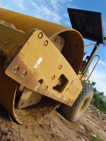 vibroroller: Heavy roller at constructin site Stock Photo