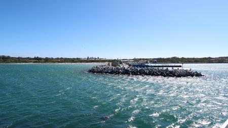 robben island: Break Water Harbour Stock Photo