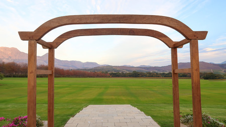 somerset: View of the Mountains through Wedding Ceremony Arch Stock Photo