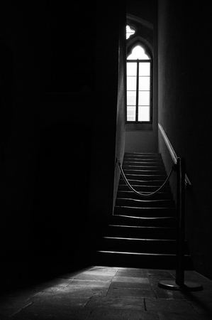 gothic window: Light coming through a gothic window