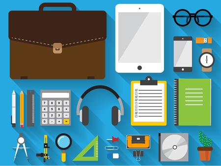 financial controller: flat icon item in briefcase set on blue background