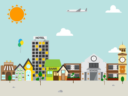 Small town with small and medium business. Bank building, coffee shop. Vector