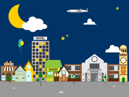 Small town with small and medium business. Bank building, coffee shop. at night Vector
