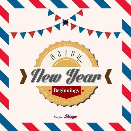 beginning: happy new year beginning card Illustration