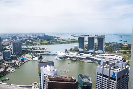 sky scraper: Aerial view of Singapore Marina Bay