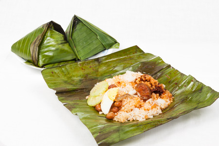 nasi: Simple and authentic nasi lemak wrapped in banana leaf.
