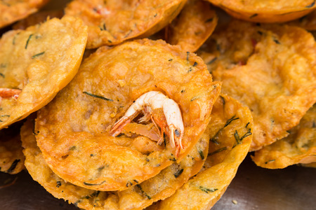 kaya: Fried prawn fritters or Cucur Udang, a popular deep fried delicacy in Malaysia
