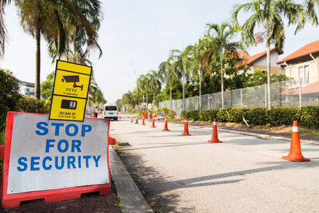Security check point of a residential area Stock Photo