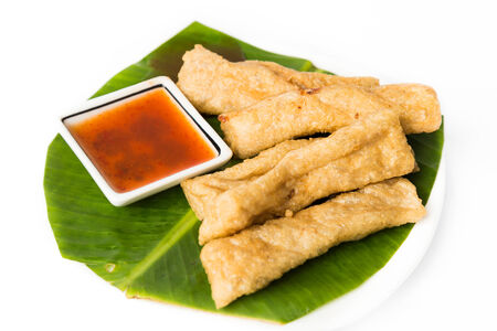 keropok: Fried fish nugget or keropok lekor Stock Photo
