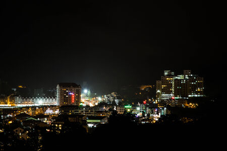 cameron highlands: View of Brinchang town, Cameron Highlands at night. Bustling with tourism activities.