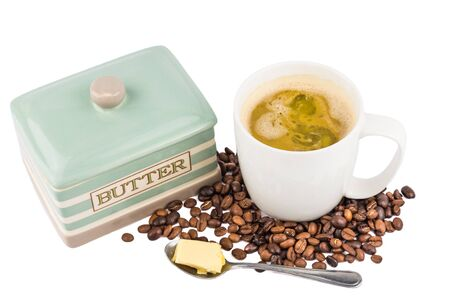 bullet proof: Coffee with Butter Stock Photo