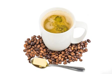 coffee spoon: Coffee with Butter Stock Photo