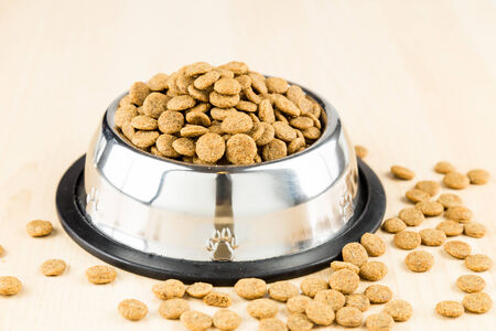 dog bone: Dog Kibbles in a bowl on wooden floor Stock Photo