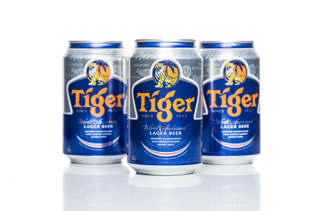 asia pacific: SINGAPORE, February 24, 2015: Tiger Beer accounted for 29% of total volume share of the Singapore beer market.  Tiger Beer is a brand of Asia Pacific Breweries Ltd, Singapore.