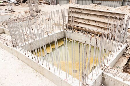 strong foundation: Building foundation at construction site