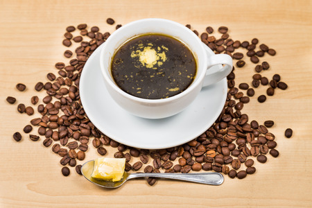 bulletproof: Black coffee with added butter Stock Photo