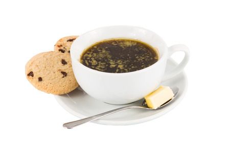 ghee: Black coffee with added butter, accompanied with butter cookie