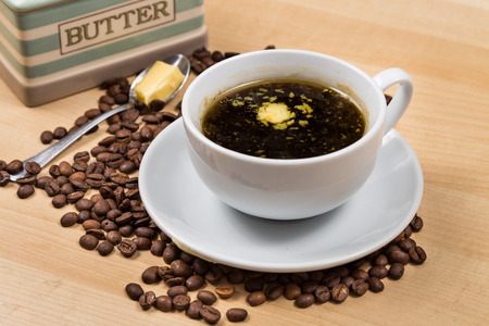 Black coffee with added butter photo