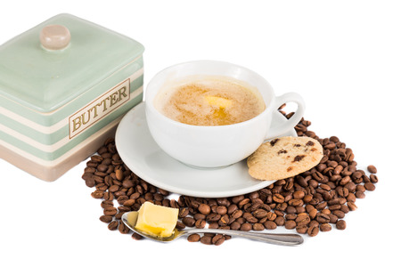 bullet proof: Coffee with milk and added butter, accompanied with butter cookie