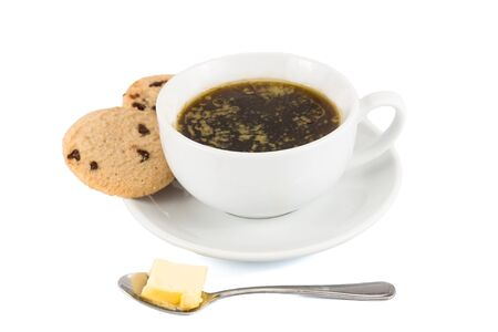accompanied: Black coffee with added butter, accompanied with butter cookie