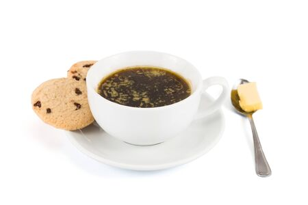 bullet proof: Black coffee with added butter, accompanied with butter cookie