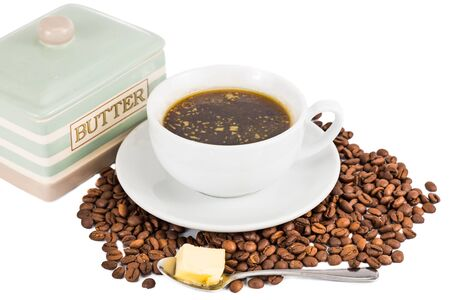 bullet proof: Black coffee with added butter Stock Photo