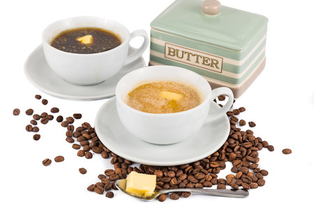 bullet proof: Coffee with added butter and milk at the foreground and black coffee with butter at the back