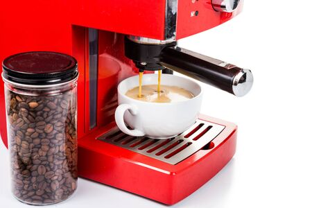 Brewing coffee with a red color espresso coffee machine