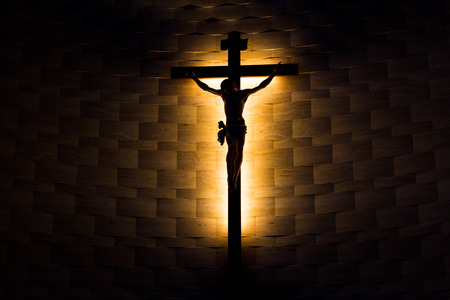 crucifix: Crucifix of the Catholic faith in silhouette Stock Photo
