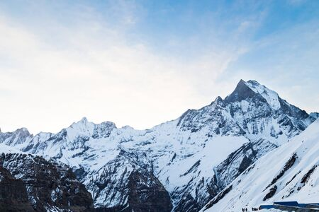 fish tail: Peak of Mount Machapuchare or popularly known as Fish Tail as viewed from Annapurna Base Camp, Nepal