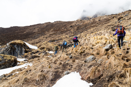 trekking pole: Group of people trekking a barren hill with snow and dried grass