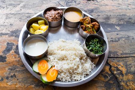 spicy chicken: Nepali Thali meal set with mutton