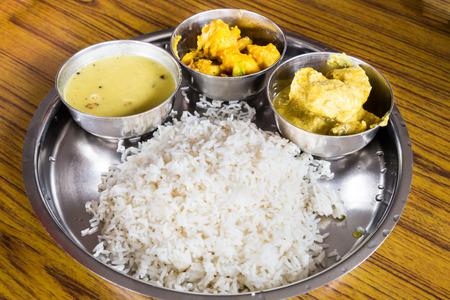 nepali: Nepali Thali meal set with chicken curry Stock Photo