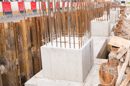 cement pole: Foundation pillar and beam being constructed at construction site Stock Photo