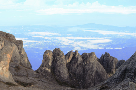 lows: Vertical rocks view from summit of Mount Kinabalu Sabah Malaysia Stock Photo