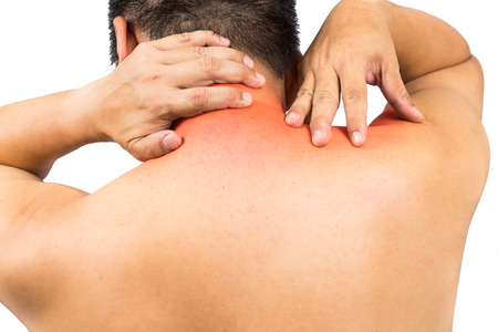 senior man on a neck pain: Matured man with neck and shoulder pain