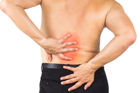 lower back: Man suffering from lower back pain