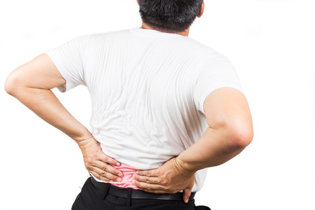 backpain: Man suffering from lower back pain