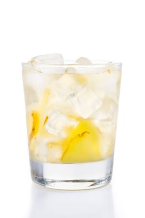 stimulate: Refreshing ice cold ginger tea in transparent glass