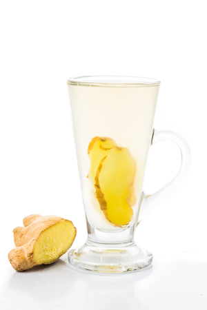 stimulate: Hot ginger tea in glass Stock Photo