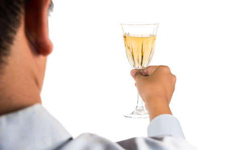 long sleeve shirt: Man in long sleeve shirt toasting white wine in crystal glass Stock Photo